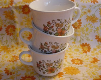 Set of 3 Vintage Corelle by Corning Indian Summer Coffee Cups Mugs Fall Floral Retro Kitchen Coffee Tea Cups