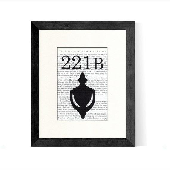 SHERLOCK Holmes 221B Baker Street over Vintage Sherlock Holmes Book Page - Great Gift for Book Lover - Sherlock Holmes Gift - Sherlock Decor