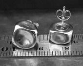 """Silver Square Stud Earrings - 3/8"""" 10mm Post Earrings - Caramel Candy - Handmade Earrings - Minimalist Jewelry - Venexia Jewelry"""