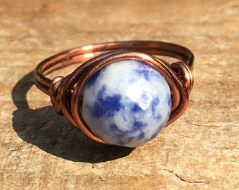 size 10.5 , 10 1/2 - navy blue and white Sodalite faceted gemstone antique copper wire wrapped ring - wrap stone women men unisex jewelry