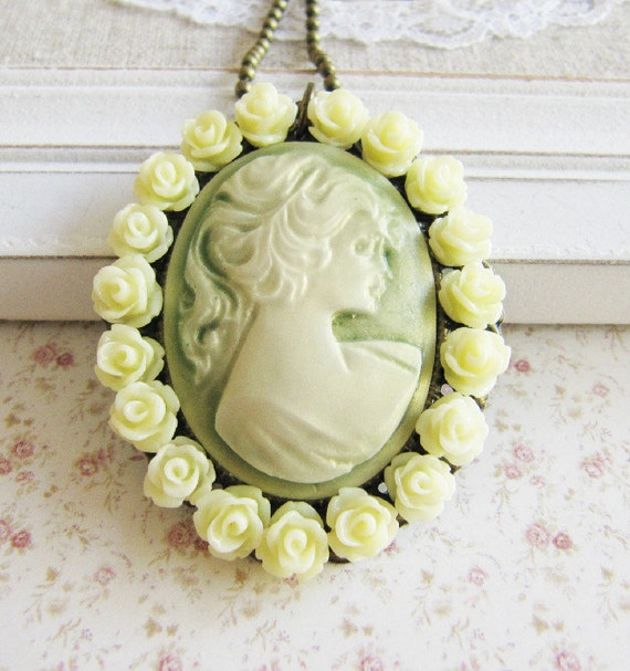 Cameo necklace, victorian style necklace, green jewelry, for her, romantic jewelry, bronze vintage style jewelry
