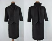 Vintage Sixties Skirt Suit - 1960s Black Skirt and Jacket - 60s Pencil Skirt Suit - XS Two Piece Suit