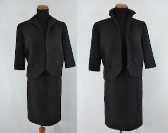 Vintage Sixties Skirt Suit - 1960s Black Skirt and Jacket - 60s Pencil Skirt Suit - XS Two Piece Suit