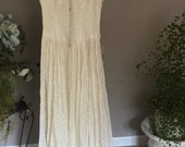Vintage 1940s Lace Bridal Gown, Beaded Bridal Gown with Lace Train, Elegant Mid-Century Wedding Gown
