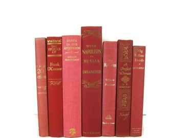 Red Pink  Decorative Books , Vintage Photo Props , Wedding Table Setting , Vintage Wedding Decor