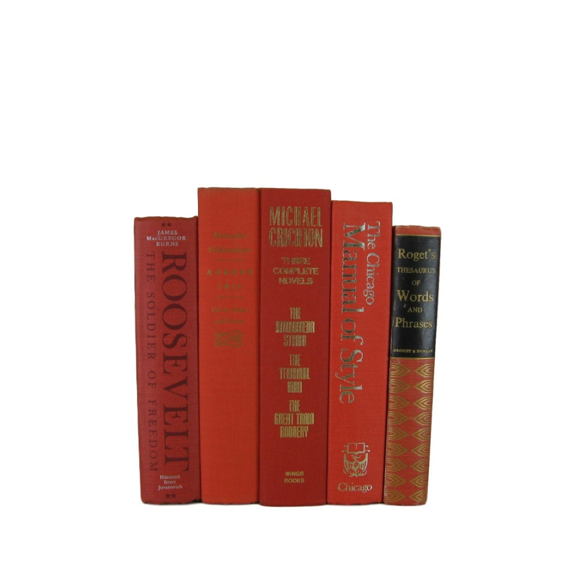 Orange Vintage Books Book Decor Wedding By DecadesOfVintage