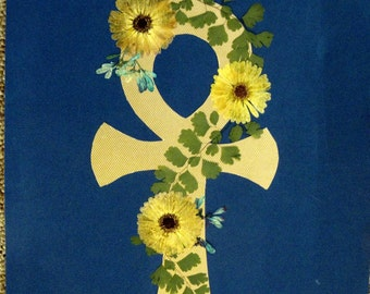 Ankh decorated with real Pressed Flowers - EXAMPLE