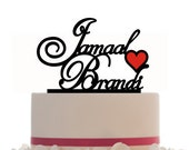 Custom Wedding Cake Topper with 2 Names Personalized with heart, choice of color and a FREE base for display