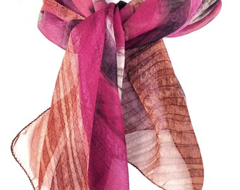 Pink Scarf Indian scarf Chiffon scarf Hand painted Unique scarf Hand dyed silk scarf Indian silk scarf Colorful scarf Ethnic scarf Kavita