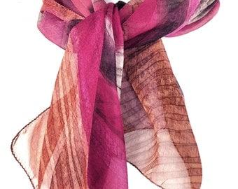 Pink Scarf Silk Summer scarf Chiffon scarf Hand painted Unique scarf Hand dyed silk scarf Indian silk scarf Colorful scarf Silk scarf Kavita