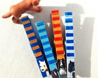DOG CLOTHESPINS painted magnets orange and blue stripes Australian shepherd white dog black dog