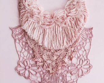 one of a kind, pink bib crochet applique necklace