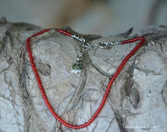 Red Miyuki Beads Ankle Bracelet in Sterling Silver with Ladybug Charm, Glass Beads, Handmade Anklet