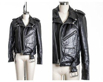 70s  Leather Motorcycle Biker Jacket Size 10