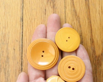 Vintage 20's 4 Yellow Butterscotch Bakelite Button Collection
