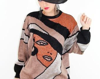 Sweater Vintage 80's NOVELTY Face w Hat Sweater Black Shimmer LUREX // Vintage Clothing by TatiTatiVintage on Etsy