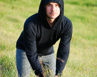 Hoodie for Men in Black Organic Cotton Hemp Jersey -  Eco Friendly - Sustainable - Organic Clothing