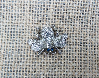 Vintage Rhinestone and Silver Tone Fly Bee Bug Tack Pin