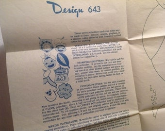 Embroidery Transfer Pattern, Laura Wheeler, 50's transfer, potholders pattern, design 643