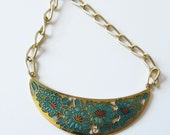 Cloisonne Statement Necklace Vintage Assemblage Necklace with Gold Tone Chain and Cloisonne Pendant