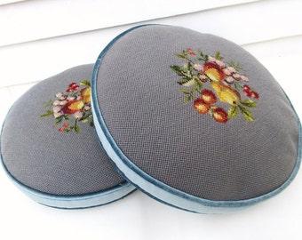 Vintage Sofa Cushions | Accent Pillows | Decorative Pillows | Needlepoint Pillows | Round Pillows