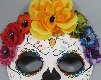 Deluxe Day of the Dead Flower Crown Rainbow Swirl Leather Masquerade Mask, OOAK