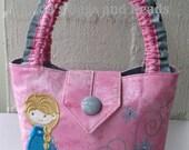Girls Bag/Pink Shimmer Fabric/Elsa & Snowflake Design