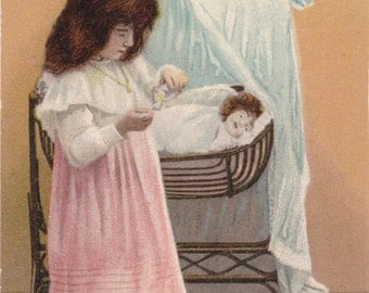Dolly Take Your Medicine- 1900s Antique Postcard- Edwardian Girl- Creepy Doll- Playing Nurse- Baby Bassinet- Art Comic- Paper Ephemera