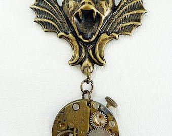 The Gargoyle - Steampunk Inspired Pendant with Swarovski Crystal