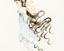 Fairy Art Pencil Drawing Illustration Giclee Print of my Original Pencil Drawing Hand Drawn Sketch Fairy Illustration