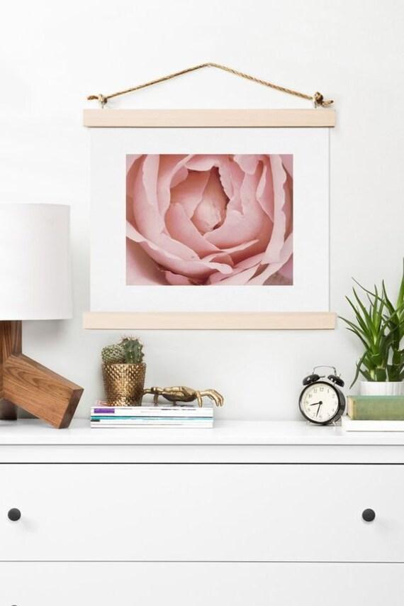 Art Print ~ Floral Pink French Rose Photograph, romantic pastel home decor, pink floral petals, dreamy dorm decoration, flower wall art