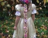 Rapunzel Braid head piece with flowers, custom made