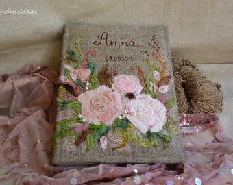Personalized Wedding Photo album, Blush pink photo album, Shabby Chic wedding, Family Album, pink wedding flowers, embroidered names & date.