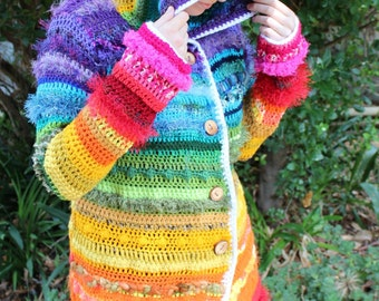 Rainbow Dream Psychedelic Crochet Coat Jacket