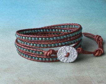 Beaded leather wrap bracelet, turquoise, seed beads, aqua, green, brown leather bracelet