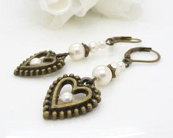 White pearl earrings, Beaded jewelry, Vintage style antique bronze long heart earrings, White pearl drop earrings