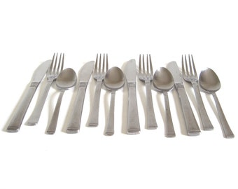 Doric Stainless Flatware Set Basic Service for 4 Japan Mid Century Silverware