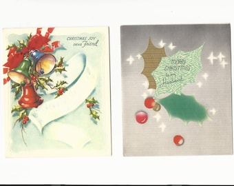 Vintage Christmas Cards Dear Friend and Husband Set of 2 Cards