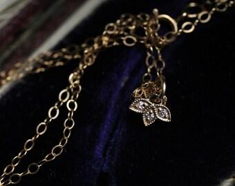Small Diamond Necklace, Antique Diamond Necklace, April Birthstone Jewelry, Flower Necklace, Diamond Pendant, Bridesmaids Necklace.