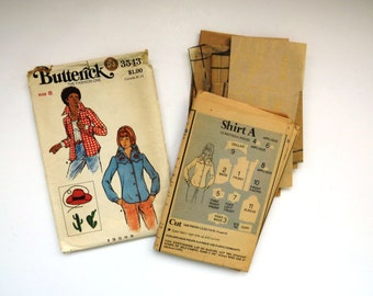 Vintage Womens Western Shirt Pattern - Butterick 3543 - Size 8 - Rodeo Wear - Cowboy Hat Transfer - Cowgirl Costume - Collectible