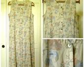 Linen Dress long sundress summer maxi dress natural beige blue button front empire high waist vintage 90s women 16 large Valerie Stevens