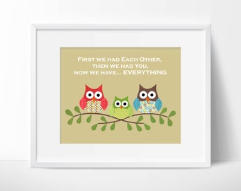 Owls- First we had each other, quote, Nursery or children artwork, decoupage, red, blue, green, brown, bird, tree branch