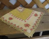 Yellow Floral Ladies Handkerchief, Square Woman's Hankie, Gift for Her, Hanky