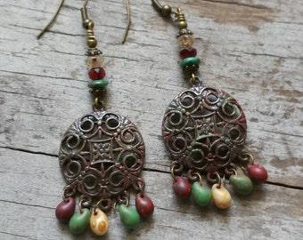 Tribal Earrings Green Earrings Bohemian Rustic Earrings Big Earrings New Mexico