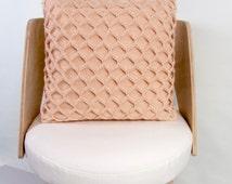 Cotton Cushion Pillow Cover Waffle Knit Knitted Cushion Knitted Pillow Knitted Pillow Cotton Cushion Apricot Salmon Pink Knit Peach Cushion