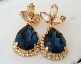 Navy blue earrings,Navy blue and champagne Chandelier earrings,Navy blue bridal earrings,Navy blue bridesmaid gift,Drop earring,Blue earring