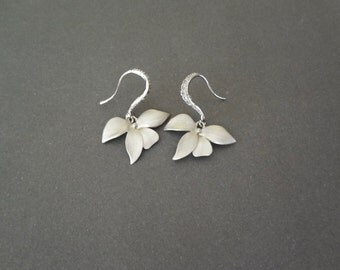 Silver orchid earrings ~ Wild orchids ~ Sterling silver ear wires ~ Destination wedding jewelry ~ Beach wedding jewelry ~ Brides earrings