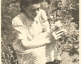 "Vintage Photo ""In The Rose Garden"" Flower Garden Pretty Woman Roses Found Vernacular Photograph"