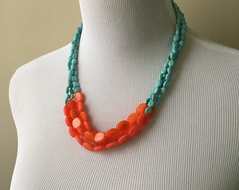 Turquoise and Orange Color Blocked Triple Strand Necklace - Orange and Turquoise Color Blocked Statement Necklace - Bianca Collection