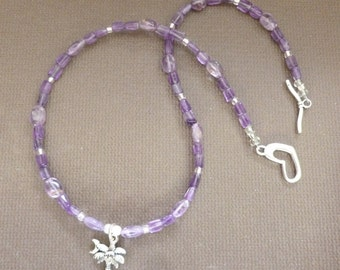 Amethyst Necklace with Silver Pendant